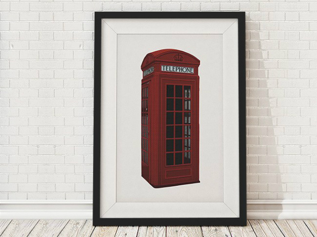 British Phone Box Framed Print, InSpaces £35.00