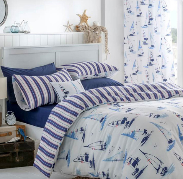 Catherine Lansfield Padstow Nautical Duvet Set, Chica Home £11.97