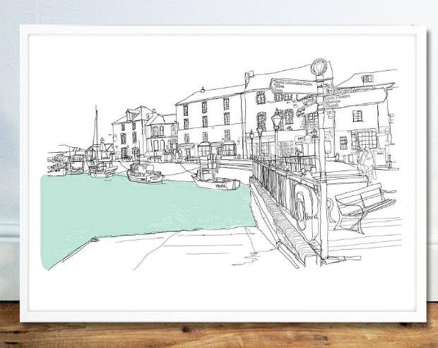 Padstow Harbour Signed Print, Not on the High Street £19.50