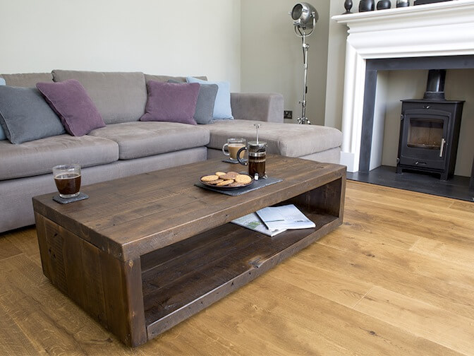 Our Qube coffee table, made from 100% reclaimed wood
