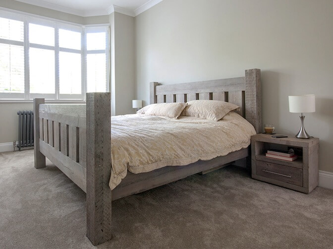 Grand Reclaimed Wood Solid Bed With Footboard, from £1,090.00