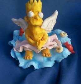 Anjo Bart Simpson em barro de