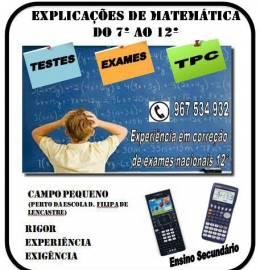 Explicações Matemática 10º e 11º, LISBOA