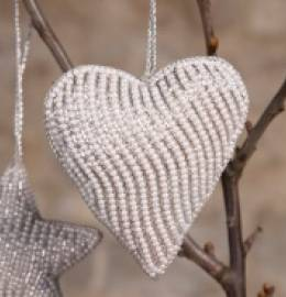 Silver Hand Crafted Beaded Heart