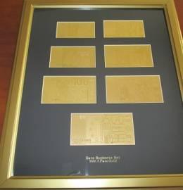 Conjunto, Emoldurado, das 7 Notas de Euro, em Ouro Puro Certificado