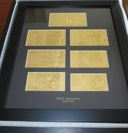 Conjunto, Emoldurado, das 7 Notas de Euro, em Ouro Puro - Com Certificação Laboratorial