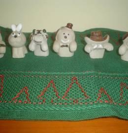 conjunto zoo em cerâmica - artesanato