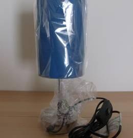 Candeeiro Azul Cobalto com pé prateado