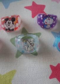 lote de 5 aneis da Disney tamanho criança
