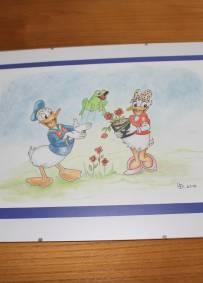 Desenho a lápis Donald e Margarida