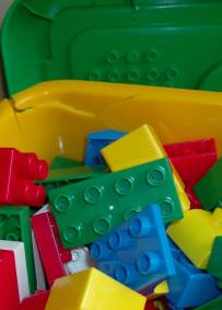 Caixa de blocos de construção para criança