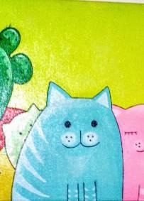 Pintura em Acrilico. Namoro dos Gatos.