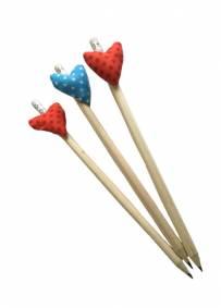 3 Lápis coração colado - Coleção Solidária