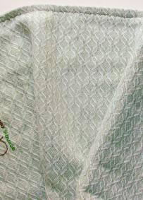 Manta em algodão verde clara e branca ACN  60cm x 38cm