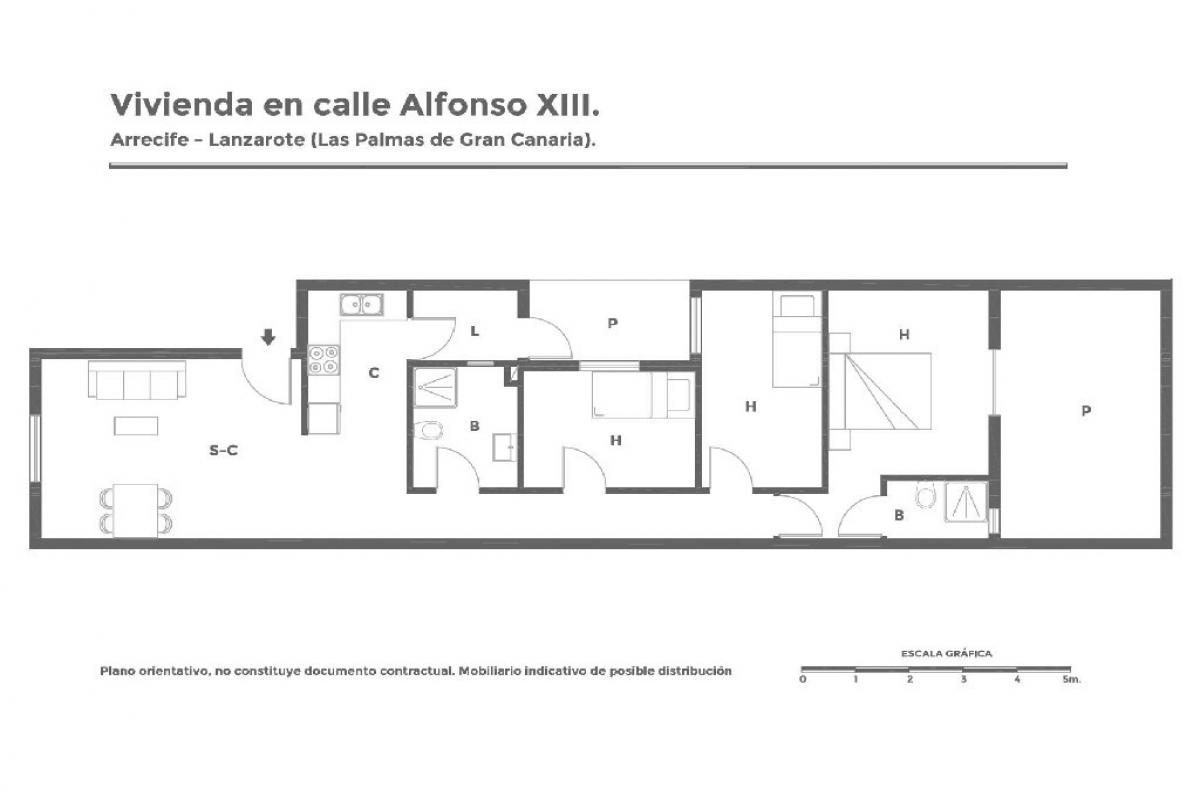 Piso en venta en Piso en Arrecife, Las Palmas, 100.419 €, 3 habitaciones, 2 baños, 84 m2