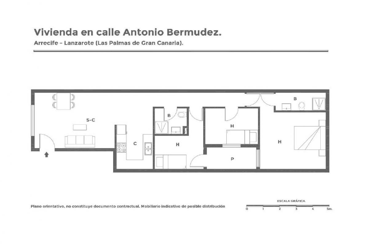 Piso en venta en Piso en Arrecife, Las Palmas, 89.100 €, 3 habitaciones, 2 baños, 84 m2