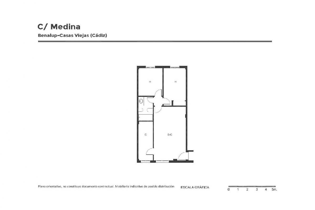 Piso en venta en Piso en Benalup-casas Viejas, Cádiz, 47.500 €, 2 habitaciones, 1 baño, 70 m2