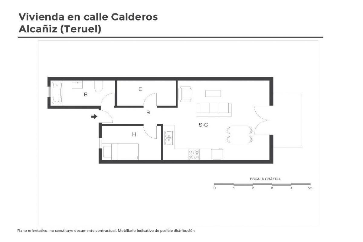 Piso en venta en Piso en Alcañiz, Teruel, 23.000 €, 1 habitación, 1 baño, 40 m2