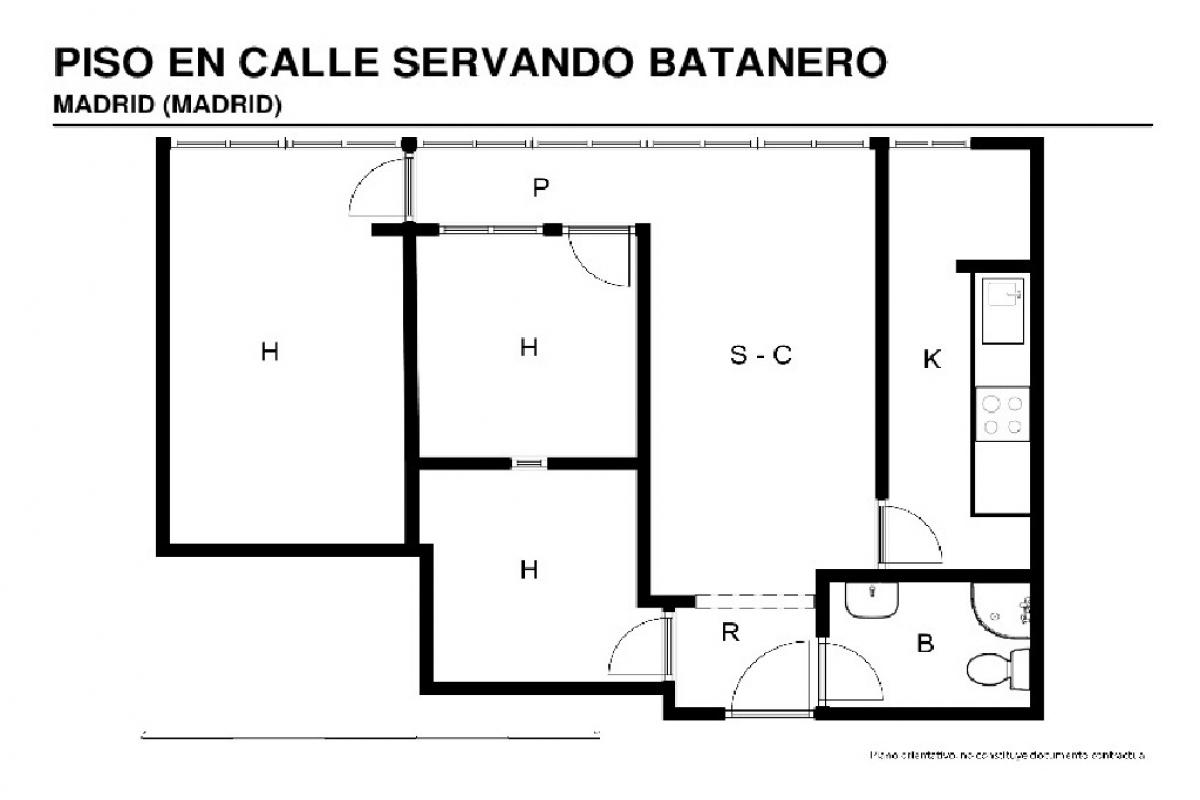 Piso en venta en Piso en Madrid, Madrid, 126.000 €, 3 habitaciones, 56 m2