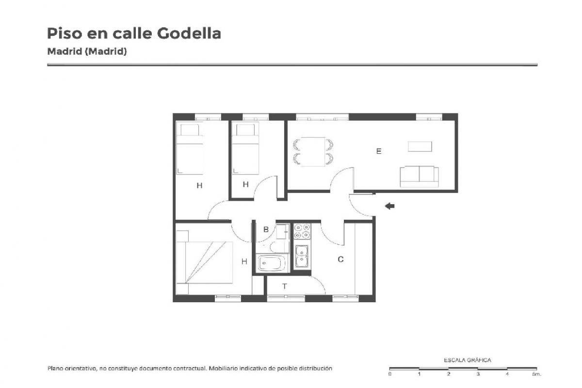 Piso en venta en Piso en Madrid, Madrid, 83.000 €, 3 habitaciones, 1 baño, 62 m2