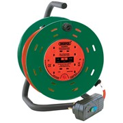 26341 DRAPER 25M 230V Four Socket Garden Cable Reel with RCD Adaptor
