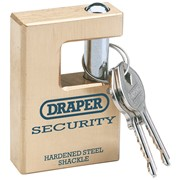 64201 DRAPER Expert 63mm Quality Close Shackle Solid Brass Padlock and 2 Keys wi