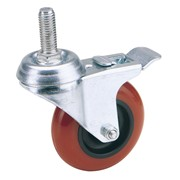 65521 DRAPER 100mm Dia. Swivel Bolt Fixing Polyurethane Wheel with Brake - S.W.L