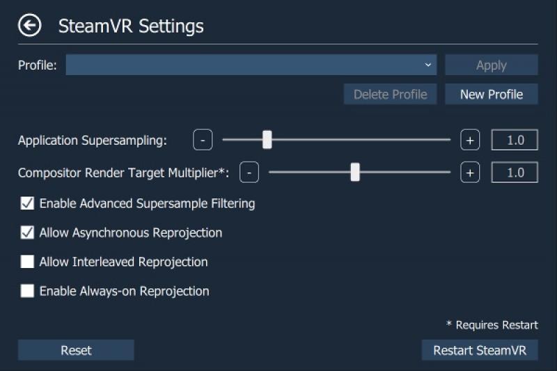 OpenVR Advanced Setting, est la boîte à outils qui permet d'améliorer grandement le paramétrage de SteamVR