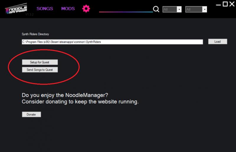 Noodle manager a spécialement pensé à l'Oculus Quest