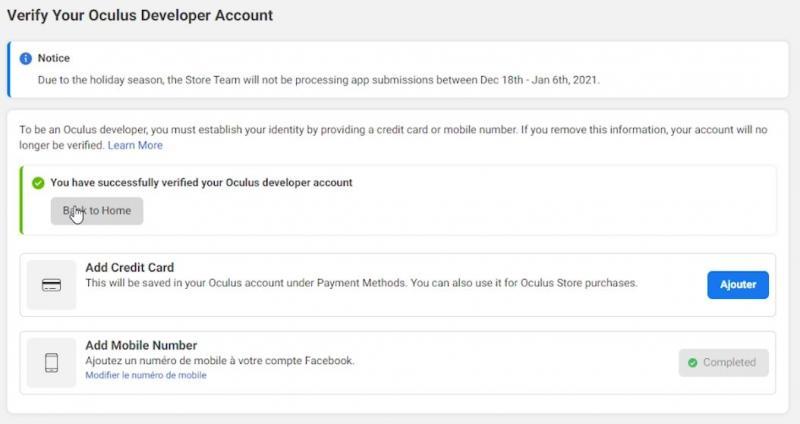 Tutorial : Mode Développeur (avec & sans Facebook) et SideQuest (version 2021 OCULUS QUEST 1 & 2) - 11