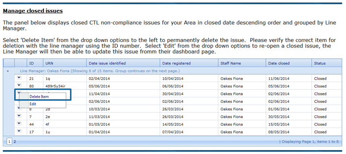 Manage closed issues : Office 365 and Application Support