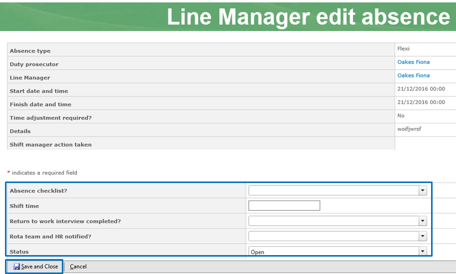 Line Manager dashboard : Office 365 and Application Support