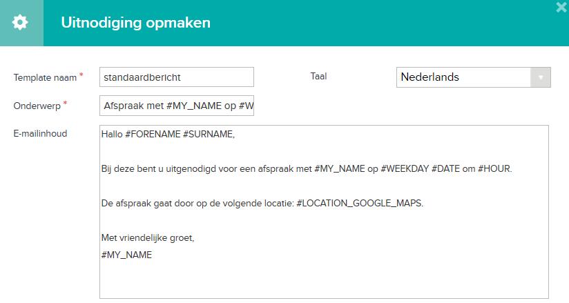 Email templates: standaardbericht meetings