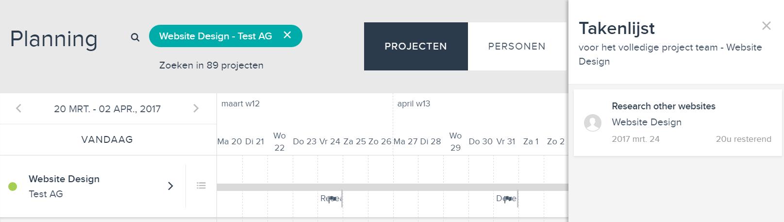project planning: takenlijst