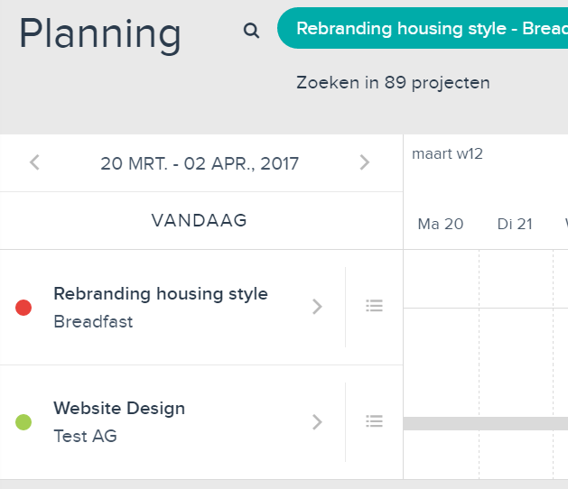 Projectplanning bolletjes