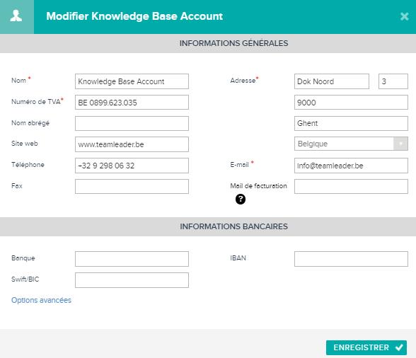 Informations bancaires dans Teamleader