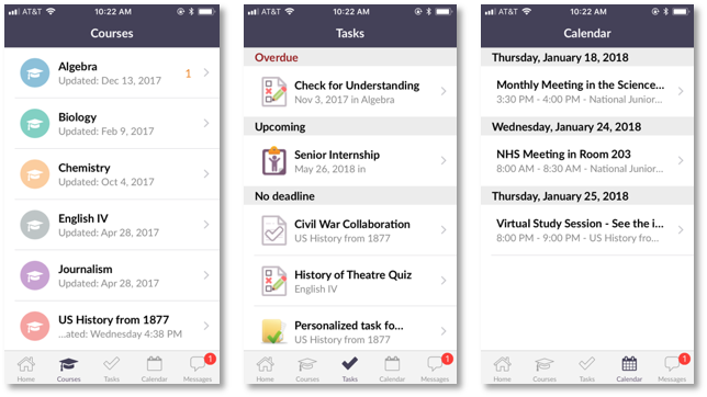 screenshot of Courses, Tasks and Calendar