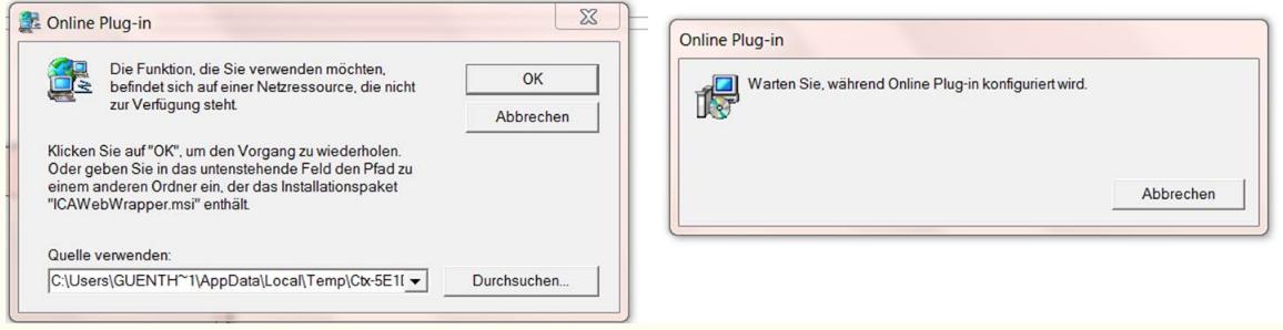 Citrix wurde nicht richtig installiert (ICAWebWrapper msi