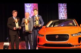 Jaguar I-PACE, World Car of the Year 2019, Ian Callum (centre, left) receives award