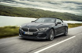BMW 8 Series Convertible, 2019, front, action, hood up