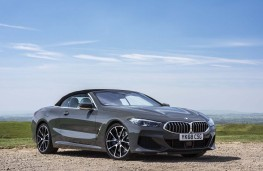 BMW 8 Series Convertible, 2019, front, static, hood up
