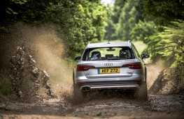 Audi A4 allroad, 2016, off road, rear, action