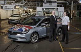 General Motors directors Peter Thom and Stefan Fesser with first Vauxhall Astra Sports Tourer off line