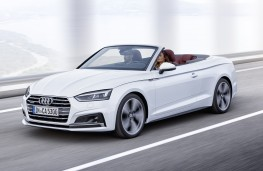 Audi A5 Cabriolet white front action