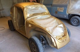 The new gold Beetle under construction
