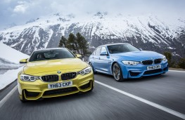 BMW M4 coupe (left) and M3 saloon