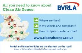 Clean Air Zones, 2021, BVRLA map