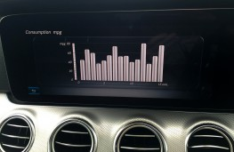 Mercedes-Benz E220 d, fuel economy readout
