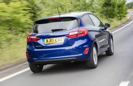 Ford Fiesta blue, rear action