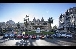 Griffin Greats line up in Casino Square, Monaco (wide)